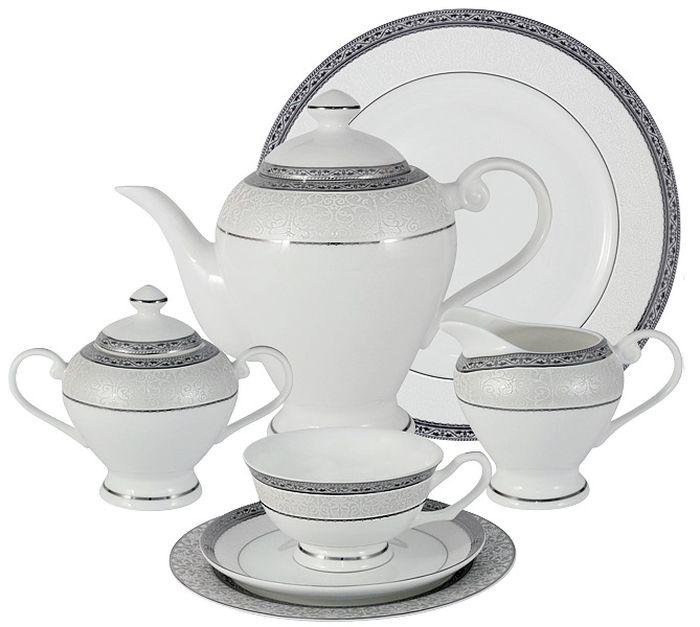 Чайный сервиз Emerald Бостон, 40 предметов, 12 персон. E5-16-908/40-ALE5-16-908/40-ALЧайный сервиз Бостон 40 предметов на 12 персон (12 чашек 0.2л, 12 блюдец, 12 тарелок 19см, чайник 1.2л, сахарница 0.35л, молочник 0.35л ; блюдо для торта 31см )Чайная и обеденная столовая посуда торговой марки Emerald произведена из высококачественного костяного фарфора. Благодаря высокому качеству исполнения, разнообразным декорам и оптимальному соотношению цена – качество, посуда Emerald завоевала огромную популярность у покупателей и пользуется неизменно высоким спросом.Изделия Emerald представлены как в виде обеденных и чайных сервизов на 6 и 12 персон.Поверхность изделий покрыта превосходной сверкающей глазурью, не содержащей свинца.