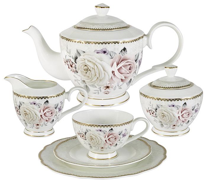 Чайный сервиз Emily Гармония, 21 предмет, 6 персон. E9-M1789/21-ALE9-M1789/21-ALЧайный сервиз Гармония 21 предмет на 6 персон (6 чашек 0,2л, 6 блюдец, 6 тарелок 20см, чайник 1л, сахарница 0,3л, молочник 0,25л)Чайная и обеденная столовая посуда торговой марки Emily произведена из высококачественного костяного фарфора.Благодаря высокому качеству исполнения, разнообразным декорам и оптимальному соотношению цена – качество, посуда Emily завоевала огромную популярность у покупателей и пользуется неизменно высоким спросом.Изделия Emily представлены как в виде обеденных и чайных сервизов на 6 и 12 персон, так и отдельными предметами и небольшими наборами в подарочных упаковках: чашками с блюдцами, кружками, чайниками, салатниками, десертными тарелками, а также чашками в наборе с блюдцами и десертными тарелками.Поверхность изделий покрыта превосходной сверкающей глазурью, не содержащей свинца.Посуду марки Emily, на которой нет золотой или серебряной росписи, можно мыть в посудомоечной машине и использовать в микроволновой печи.