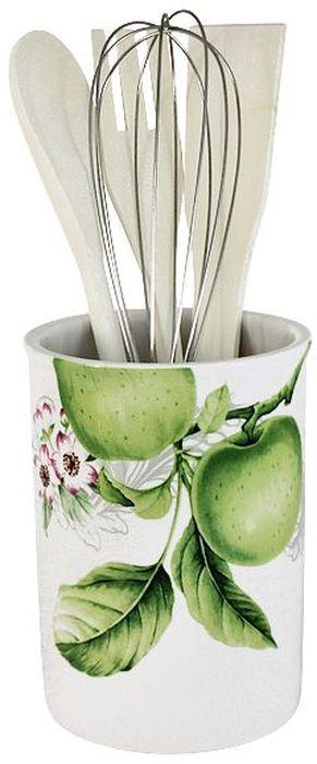 Банка-подставка с кухонными инструментами Imari Зеленые яблоки, 5 предметовIM55002-A2211ALБанка-подставка для кухонных принадлежностей Imari выполнена из высококачественной керамики белого цвета и оформлена оригинальным изображением. В комплекте с банкой имеются три разные лопатки и венчик. Дизайн, эстетичность и функциональность подставки позволят ей стать достойным предметом на вашей кухне.Высокое качество изделий Imari достигается не только благодаря использованию особого сырья и новейших технологий и оборудования при изготовлении посуды, но также благодаря строгому контролю на всех этапах производственного процесса на фабрике в Китае. Нанесение сверкающей глазури, не содержащей свинца, придает изделиям Imari превосходный блеск и особую прочность.Не использовать в СВЧ.Можно мыть с применением жидких моющих средств и в посудомоечной машине.