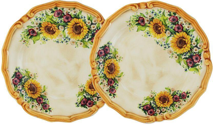 Тарелка десертная LCS Подсолнухи Италии, диаметр 20,5 см, 2 шт. LCS053/2/PF-S-ALLCS053/2/PF-S-ALНабор LCS Подсолнухи Италии состоит из двух десертных тарелок, выполненных из высококачественной керамики. Изделия оформлены изящным цветочным рисунком. Края тарелок рельефные. Изящные тарелки прекрасно оформят праздничный стол и порадуют ваших гостей изысканным дизайном и формой.