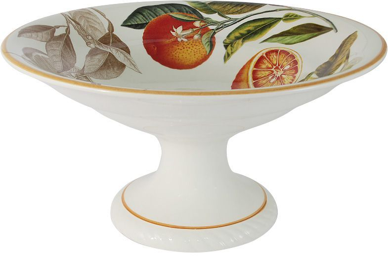 Ваза для фруктов LCS Апельсины, на ножке, 30 см, высота 16 см. LCS1308/PA-AR-ALLCS1308/PA-AR-ALВаза для фруктов на ножке LCS Апельсины - будет красиво смотреться как в интерьере городской кухни, так и загородного дома, наполняя пространство вокруг солнечным светом и теплом. Изделие выполнено из керамики.LCS - молодая, динамично развивающаяся итальянская компания из Флоренции, производящая разнообразную керамическую посуду и изделия для украшения интерьера. На бежевом фоне керамической вазы раскинулись пышные венки из подсолнухов и луговых цветов. Солнечные желтые цветы подсолнухов в центре декора создают вокруг себя позитивную атмосферу. Края вазы украшает витой ободок теплого коричневого цвета.
