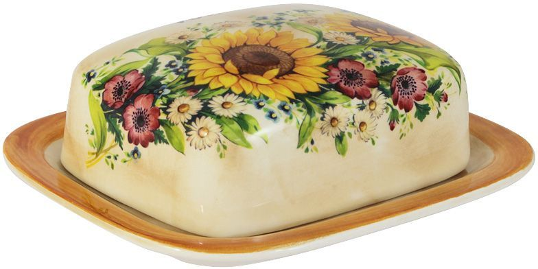 Масленка LCS Подсолнухи Италии. LCS874B-S-ALLCS874B-S-ALВеликолепная масленка LCS Подсолнухи Италии, выполненная из высококачественнойкерамики, предназначена для красивой сервировки и хранения масла. Она состоит из подноса икрышки. Масло в ней долго остается свежим, а при хранении в холодильнике не впитываетпосторонние запахи.Масленка LCS идеально подойдет для сервировки стола и станет отличным подарком к любомупразднику. LCS - молодая, динамично развивающаяся итальянскаякомпания из Флоренции, производящая разнообразную керамическую посуду и изделия дляукрашения интерьера. В своих дизайнах LCS использует как классические, так и современные тенденции. Высокий стандарт изделий обеспечивается за счет соединения высоко технологичногопроизводства и использования ручной работы профессиональных дизайнеров и художников,работающих на фабрике.