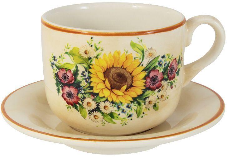 """Чайная пара LCS """"Подсолнухи Италии"""" состоит из чашки и блюдца,  выполненных из  керамики. Оригинальный  дизайн, несомненно, придется вам по вкусу. Чайная пара LCS """"Подсолнухи  Италии"""" украсит ваш кухонный стол, а также станет замечательным подарком  к  любому празднику."""