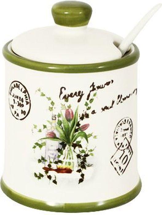 Сахарница LF Ceramic Букет, с ложкой, 175 мл банка для чая lf ceramic лаванда 700 мл