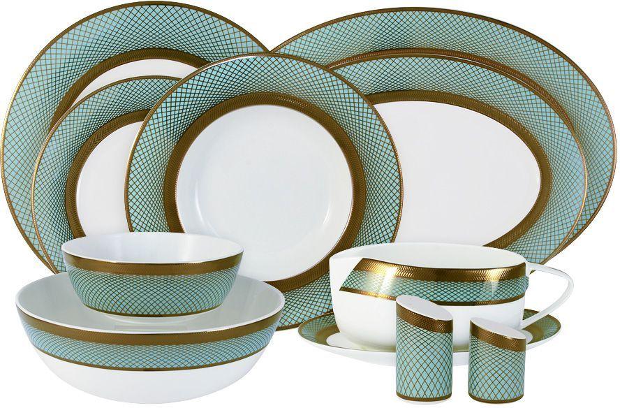 Обеденный сервиз Naomi Бирюза, 27 предметовNG-G150306-27-ALОбеденный сервиз Naomi состоит из 6 глубоких тарелок, 6 обеденных тарелок, 6 десертных тарелок, 1 большого салатника, 2 маленьких салатников, 1 большого блюда, 1 маленького блюда, соусника с подставкой, солонки и перечницы. Изделия изготовлены из высококачественного костяного фарфора с изящным орнаментом. Поверхность изделий покрыта превосходной сверкающей глазурью, не содержащей свинца.Такой сервиз придется по вкусу любителям классики, и тем, кто предпочитает утонченность и изысканность. Диаметр обеденных тарелок: 27,5 см. Диаметр суповых тарелок: 24,5 см. Диаметр закусочных тарелок: 21,5 см. Диаметр большого салатника: 23,5 см. Диаметр малых салатников: 16 см. Диаметр большого блюда: 36 см. Диаметр малого блюда: 30 см.Чайная и обеденная посуда торговой марки Naomi из высококачественного костяного фарфора отличается прекрасными дизайнами, исполненными как в современном, так и в классическом стиле по разработкам современных японских художников. Все изделия изготавливаются на современном оборудовании по новейшим технологиям и проходят строгий контроль качества.