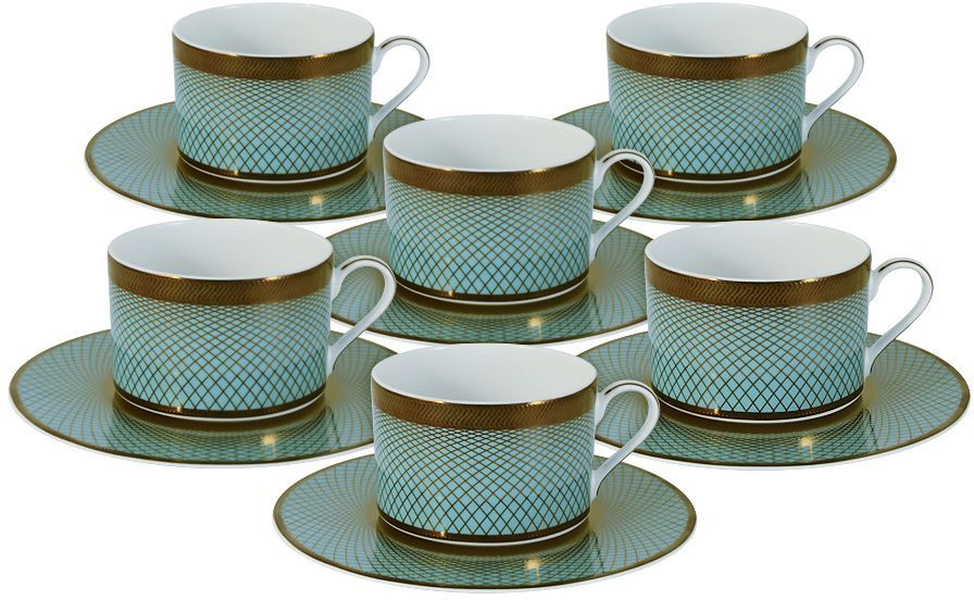 Набор чайный Naomi Бирюза, 12 предметов. NG-G150306-T6-ALNG-G150306-T6-ALЧайный набор Бирюза: 6 чашек 0.25л+6 блюдецЧайная и обеденная посуда торговой марки Naomi из высококачественного костяного фарфора отличается прекрасными дизайнами, исполненными как в современном, так и в классическом стиле по разработкам современных японских художников. Все изделия изготавливаются на современном оборудовании по новейшим технологиям и проходят строгий контроль качества.
