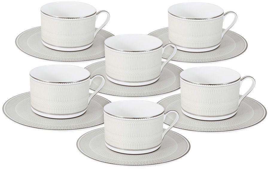 """Чайный набор """"Жемчуг"""" : 6 чашек 0.25л+6 блюдецЧайная и обеденная посуда торговой марки Naomi из высококачественного костяного фарфора отличается прекрасными дизайнами, исполненными как в современном, так и в классическом стиле по разработкам современных японских художников. Все изделия изготавливаются на современном оборудовании по новейшим технологиям и проходят строгий контроль качества."""