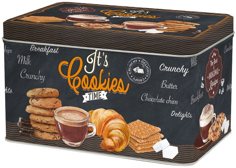 """Коробка для печенья Nuova R2S """"Время кофе"""" изготовлена из  металла с оригинальным декором. Такая коробка прекрасно  подойдет для хранения печенья, конфет и других сладостей, а  также орехов или сухофруктов. Изделие отлично дополнит  коллекцию ваших кухонных аксессуаров и порадует вас  оригинальным дизайном."""