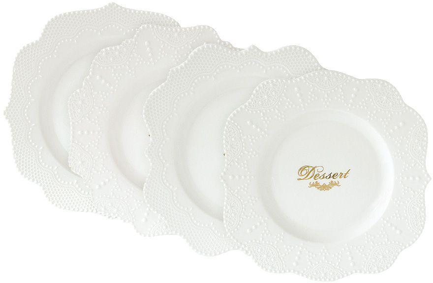 Набор десертных тарелок Nuova R2S Белое кружево, диаметр 20,5 см, 4 штR2S1268/MADE-ALНабор Nuova R2S Белое кружево состоит из четырех десертных тарелок, выполненных из высококачественного фарфора. Изделия с рельефными краями оформлены надписями золотистого цвета. Такой набор украсит сервировку стола и порадует вас изящным дизайном. Концепция выпускаемой продукции заключается в создании единой дизайнерской линии предметов сервировки стола, оформления интерьера кухни или столовой комнаты. Вся продукция производится из современных и экологически чистых материалов. Продукция компании Nuova R2S отличается современным дизайном, и легкостью в эксплуатации. Компания работает в тесном сотрудничестве с лучшими итальянскими художниками и дизайнерами. Диаметр (по верхнему краю): 20,5 см.