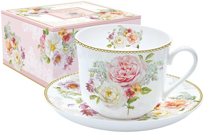 Чашка с блюдцем Nuova R2S Цветочная романтика, 400 мл кружка nuova r2s милый друг 350 мл