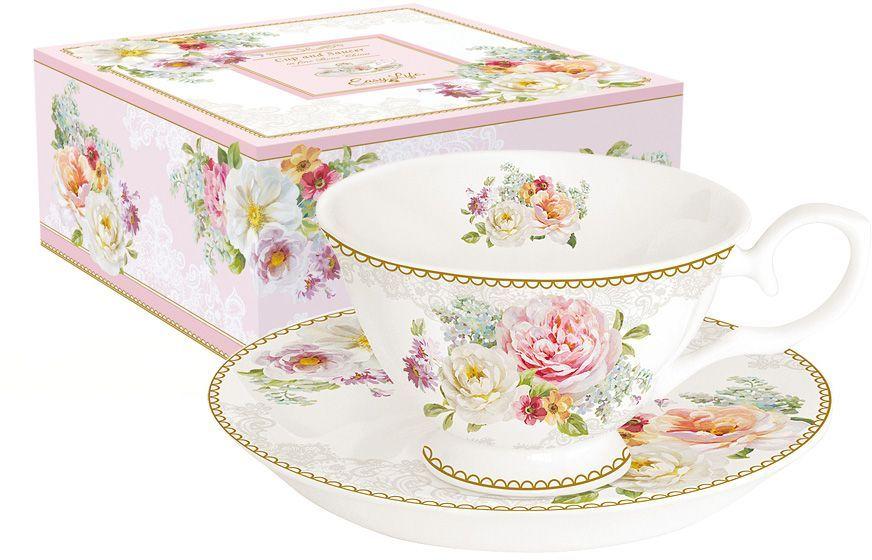 Чайная пара Nuova R2S Цветочная романтика, 2 предмета кружка nuova r2s милый друг 350 мл