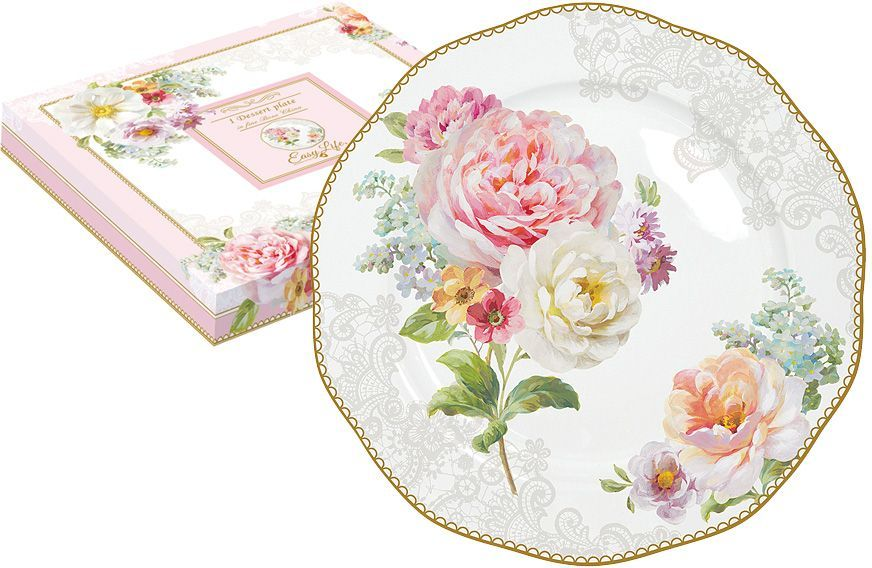 Тарелка десертная Nuova R2S Цветочная романтика, диаметр 20 см кружка nuova r2s милый друг 350 мл