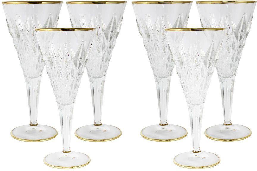 Набор бокалов для вина Same Decorazione Энигма, 0,3 л, 6 шт. SM3855/1-ALSM3855/1-ALНабор: 6 бокалов для вина 0.3л ЭнигмаХрустальные изделия из Италии от компании Same Decorazione — это маленькие шедевры, о которых знает уже немалая часть Европы.Выполненные из высокосортного хрусталя (24% PbO ), все изделия выделяются своим изяществом и блеском. А элегантная форма подчеркивается нежными изысканными рисунками, декорированными 24-каратным золотом и платиной.Хрустальные изделия Same Decorazione отличаются чистым, неискажённым преломлением света, прозрачностью и красотой граненых поверхностей. Золотая и платиновая отделка безопасна для использования