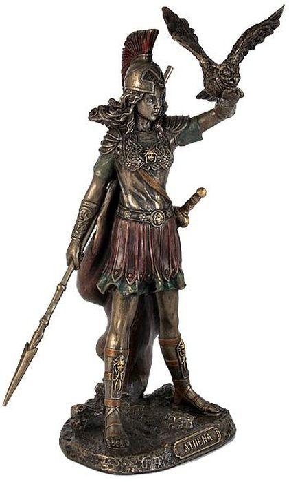 Статуэтка Veronese Афина, высота 20 смVWU76947A4ALДекоративная статуэтка Veronese Афина изготовлена из полистоуна бронзового цвета. Изделие выполнено в виде греческой богини войны и мудрости - Афины, с совой и копьем в руке.Вы можете поставить статуэтку в любом месте, где она будет удачно смотреться и радовать глаз. Такая фигурка прекрасно дополнит интерьер офиса или дома. Veronese - это торговая марка, представляющая широкий ассортимент художественных изделий из полистоуна, выполненных по эскизам итальянских дизайнеров и художников.Полистоун представляет собой специальную массу с полимерными связующими материалами, которые абсолютно не токсичны.Имя Veronese является синонимом высокого качества, художественного вкуса и эксклюзивного дизайна. Искусные мастера создают уникальные статуэтки и фигурки, которые призваны украсить вашу жизнь.