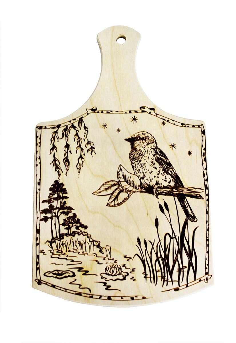 Доска разделочная Птица, 34 х 20,5 см851062Разделочная доска Птица, изготовленная из березы, прекрасно подходит для разделки и измельчения всех видов продуктов. С лицевой стороны изделие декорировано изображением. Имеет отверстие для подвешивания на крючок.
