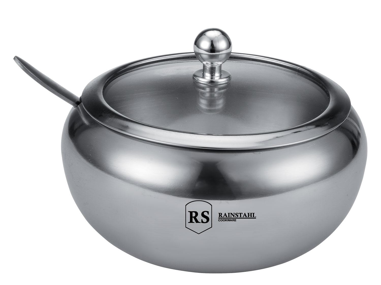 Сахарница Rainstahl, с крышкой и ложкой, 460 мл. 8420-46 RS\SB8420-46 RS\SBСахарница со стеклянной крышкой выполнена из высококачественной нержавеющей стали.Металлическую часть можно мыть в посудомоечной машине. К сахарнице прилагается ложка.