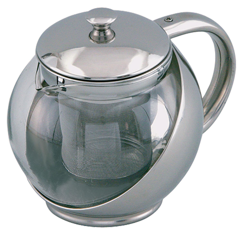 Заварочный чайник. Корпус из нержавеющей стали. Стеклянная прозрачная колба. Объём 900 мл. Металлический фильтр. Стальная крышка.
