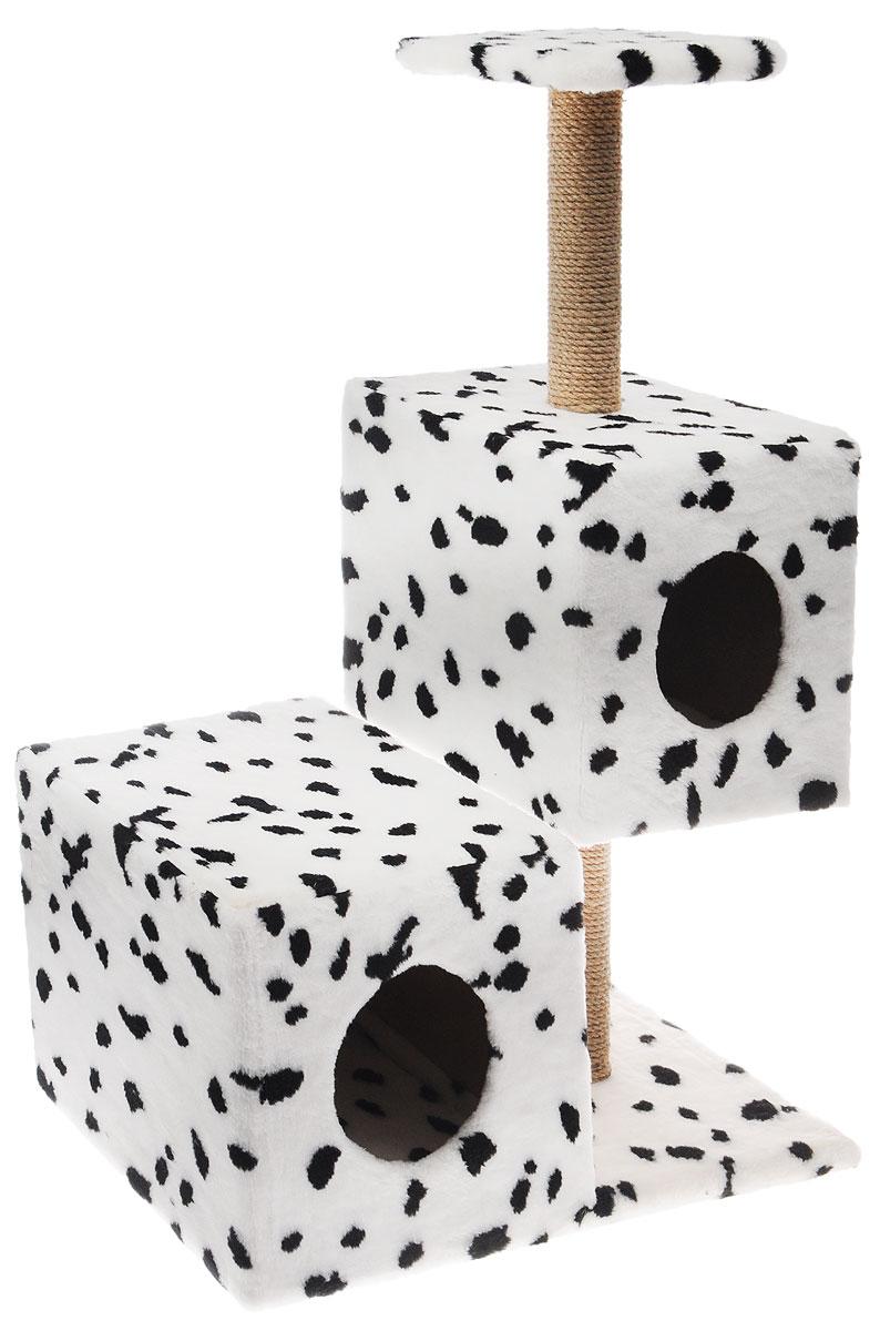 Домик-когтеточка Меридиан Разноуровневый, 3-ярусный, цвет: белый, черный, 66 х 36 х 94 смД133ЛаДомик-когтеточка Меридиан Разноуровневый выполнен из высококачественного ДВП и ДСП и обтянут искусственным мехом. Изделие предназначено для кошек. Комплекс имеет 3 яруса. Ваш домашний питомец будет с удовольствием точить когти о специальные столбики, изготовленные из джута. А отдохнуть он сможет либо на полке, либо в домиках. Домик-когтеточка Меридиан Разноуровневый принесет пользу не только вашему питомцу, но и вам, так как он сохранит мебель от когтей и шерсти.Общий размер: 66 х 36 х 94 см.Размер нижнего домика: 36 х 36 х 32 см.Размер верхнего домика: 32 х 32 х 32 см.Размер полки: 26 х 26 см.