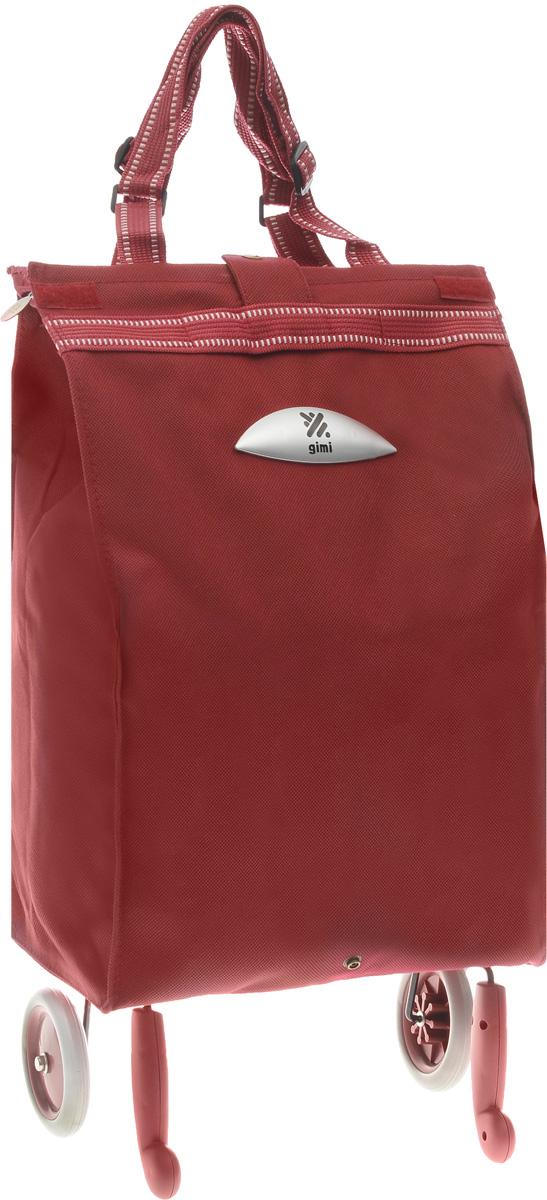 """Хозяйственная сумка-тележка Gimi """"Brava"""" выполнена из  высококачественного полиэстера со стальным каркасом. Она  оснащена 1 вместительным отделением, закрывающимся с  помощью застежки-молнии. Сумка водоустойчива, оснащена 2  колесами, обеспечивающими удобство транспортировки. Для  компактного хранения сумку можно сложить. Максимальная нагрузка: 15 кг."""