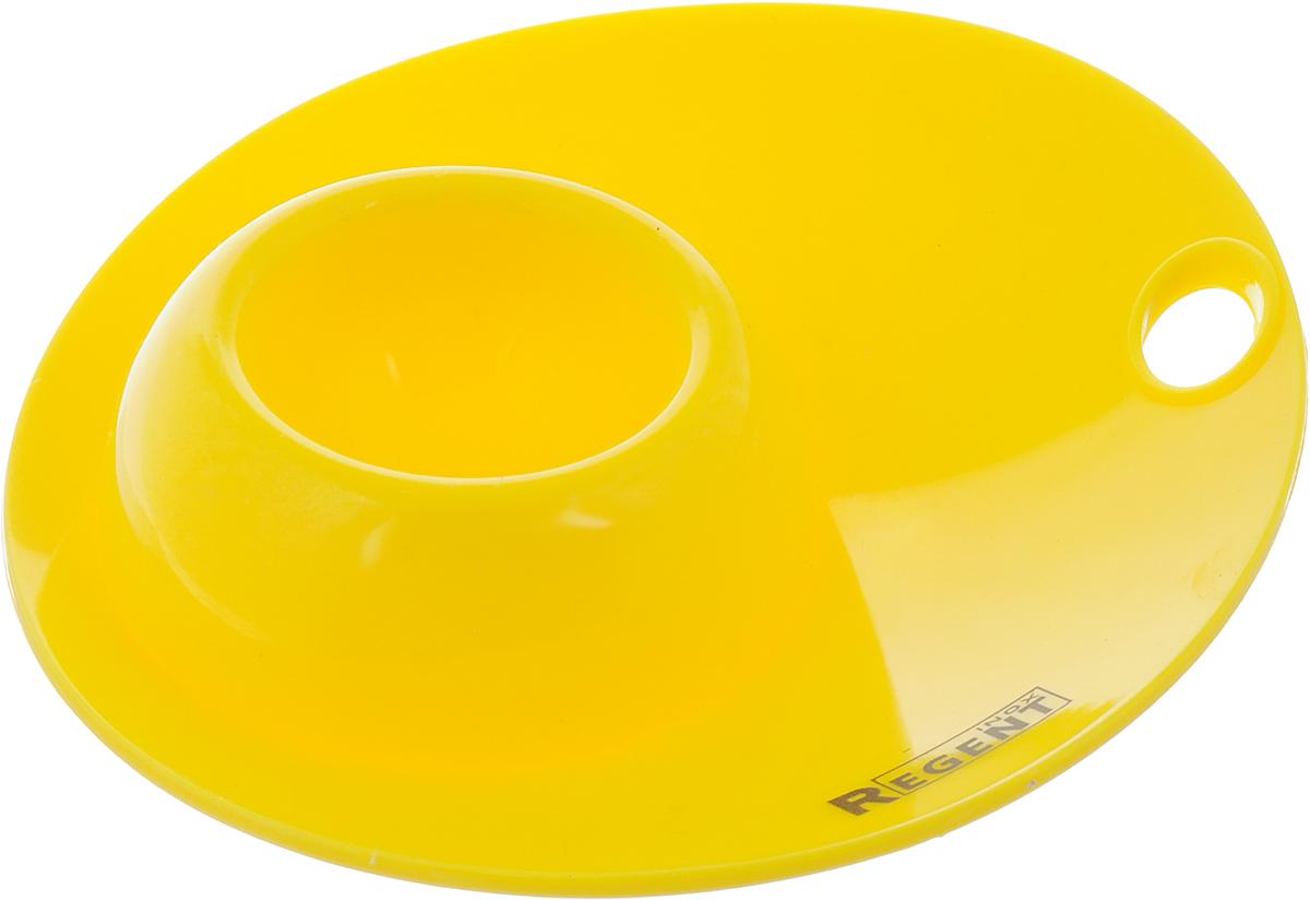 """Подставка для яйца Regent Inox """"Завтрак"""" окрасит  завтрак яркими красками, создаст хорошее настроение и  сохранит чистоту вашего стола благодаря поверхности  для скорлупы и ложки.  Силикон выдерживает высокие и низкие температуры,  абсолютно безвреден для здоровья. Также он не  впитывает запахи, не оставляет пятен и легко моется.   Изделие служит подставкой для яйца и может стать  красивым пасхальным подарком для ваших друзей и  близких. Диаметр подставки (по верхнему краю): 12 см. Высота подставки: 2,5 см."""