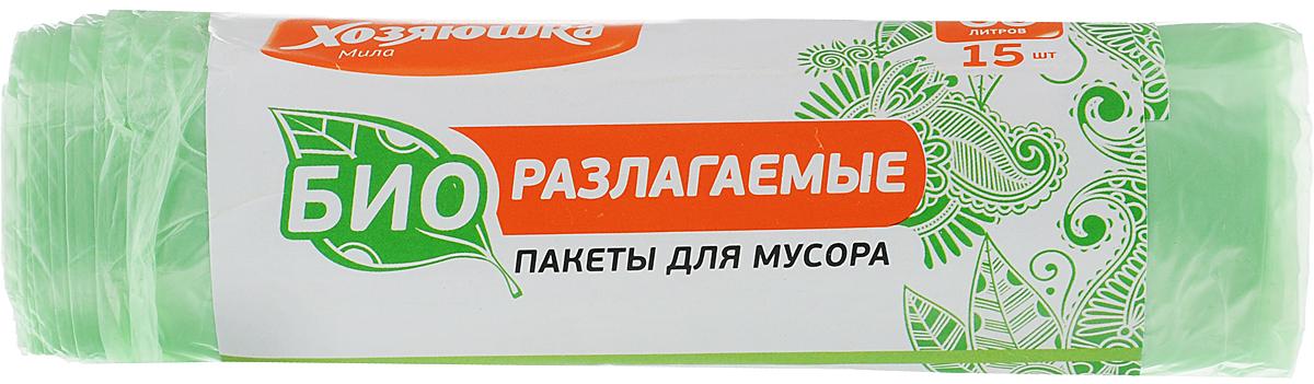 Пакеты для мусора Хозяюшка Мила, биоразлагаемые, цвет: зеленый, 60 л, 15 шт пакеты д мусора премиум повышенной прочности 30л в пластах 20 шт 930984