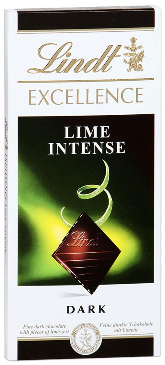 Lindt Excellence темный шоколад с лаймом, 100 г lindt excellence малина темный шоколад 100 г