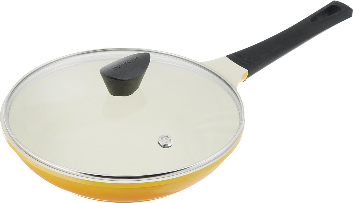 """Сковорода Frybest """"Rainbow"""" изготовлена по новейшей  технологии из литого алюминия с  керамическим антипригарным покрытием Ecolon, в  производстве которого  используются природные материалы безопасные для  здоровья. Благодаря  специальному утолщенному дну сковорода равномерно  распределяет тепло.   Непревзойденная прочность сковороды и устойчивость к  царапинам позволяет  использовать металлические аксессуары при  приготовлении пищи, а  эргономичная удлиненная ручка с силиконовым  покрытием soft-touch имеет  оригинальное технологическое крепление к телу  сковороды и всегда остается  холодной. Прозрачная крышка, выполненная из  термостойкого стекла с  клапаном для выпуска пара, позволяет следить за  процессом приготовления  пищи.  Изделие можно использовать на газовых, электрических  и стеклокерамических плитах.  Не подходит для индукционных плит. Можно мыть в  посудомоечной машине.  Диаметр (по верхнему краю): 26 см.  Высота стенки: 5,5 см.  Длина ручки: 21 см."""