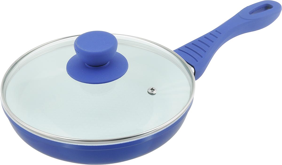Сковорода Bohmann с крышкой, с керамическим покрытием, цвет: синий. Диаметр 20 см. 7020WCBH7020WC_синийСковорода Bohmann изготовлена из литого алюминия с антипригарным керамическим покрытием белого цвета. Внешнее покрытие - жаростойкий лак, который сохраняет цвет долгое время. Благодаря керамическому покрытию пища не пригорает и не прилипает к поверхности сковороды, что позволяет готовить с минимальным количеством масла. Кроме того, такое покрытие абсолютно безопасно для здоровья человека, так как не содержит вредной примеси PFOA. Рифленая внутренняя поверхность сковороды обеспечивает быстрое и легкое приготовление. Достоинства керамического покрытия: - устойчивость к высоким температурам и резким перепадам температур; - устойчивость к царапающим кухонным принадлежностям и абразивным моющим средствам; - устойчивость к коррозии; - водоотталкивающий эффект; - покрытие способствует испарению воды во время готовки; - длительный срок службы; - безопасность для окружающей среды и человека. Сковорода быстро разогревается, распределяя тепло по всей поверхности, что позволяет готовить в энергосберегающем режиме, значительно сокращая время, проведенное у плиты. Изделие оснащено ручкой, выполненной из пластика с термостойким силиконовым покрытием. Такая ручка не нагревается в процессе готовки и обеспечивает надежный хват. Крышка, изготовленная из жаропрочного стекла, оснащена ручкой, отверстием для выпуска пара и металлическим ободом. Благодаря такой крышке можно следить за приготовлением пищи без потери тепла. Подходит для газовых, электрических и стеклокерамических плит, включая индукционные. Можно мыть в посудомоечной машине.Диаметр сковороды: 20 см.Высота стенки: 4,5 см. Длина ручки: 17,5 см.