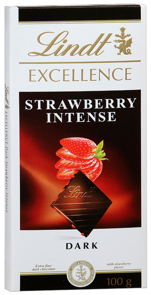 Lindt Excellence темный шоколад с кусочками клубники, 100 г lindt excellence малина темный шоколад 100 г