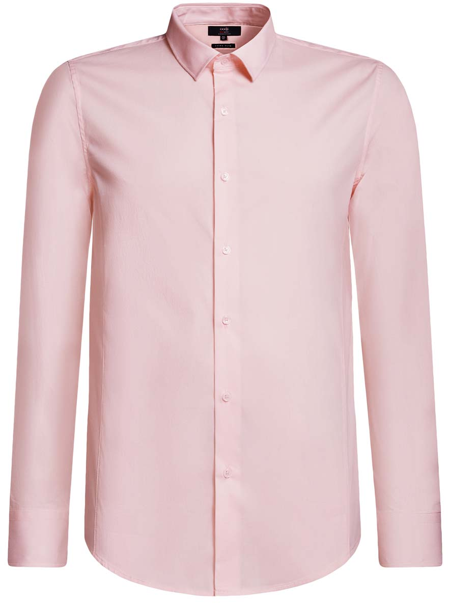 Рубашка мужская oodji Basic, цвет: розовый. 3B140000M/34146N/4100N. Размер 40-182 (48-182) рубашка мужская oodji цвет белый морская волна 3l210030m 44192n 106cc размер 40 182 48 182