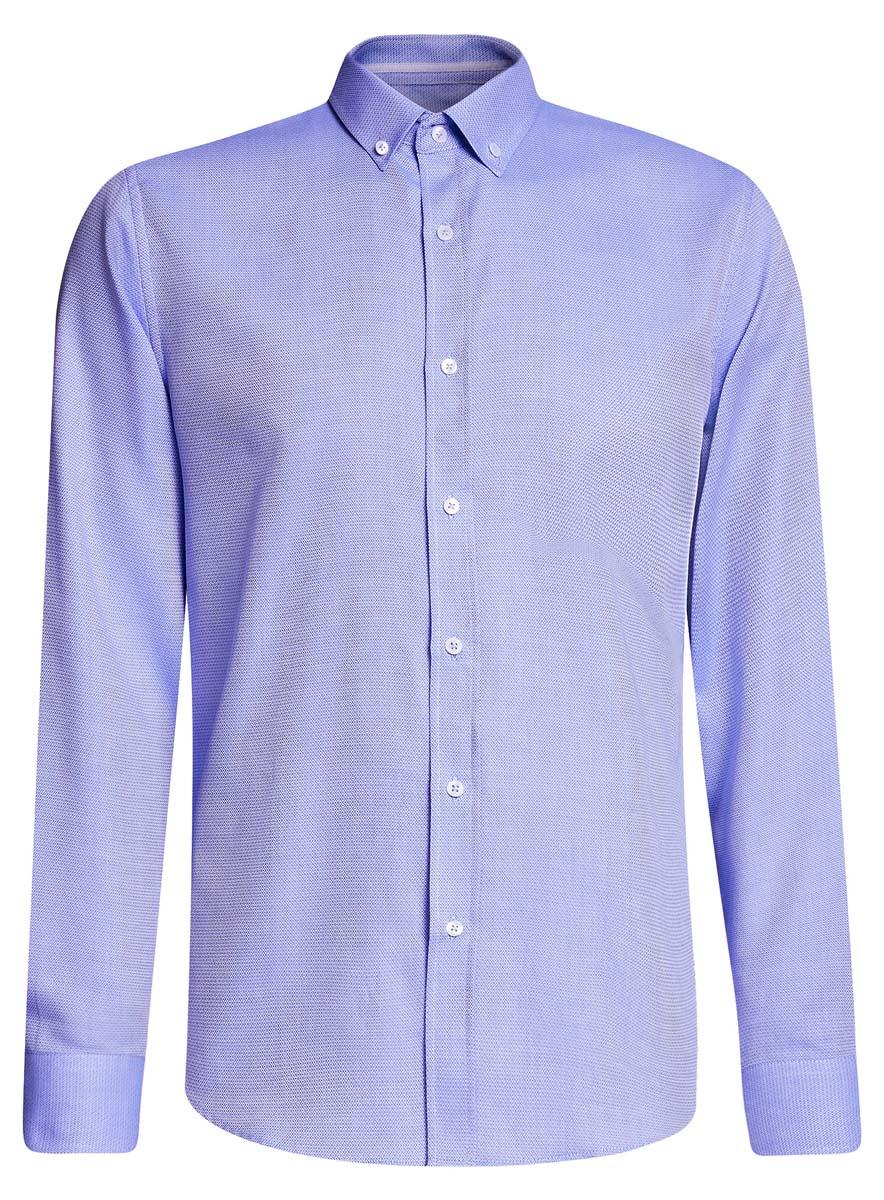 Рубашка мужcкая oodji Basic, цвет: голубой. 3B110015M/46246N/7070B. Размер 39-182 (46-182)3B110015M/46246N/7070BПриталенная мужская рубашка oodji Basic, изготовленная из хлопкас добавлением полиэстера, оформлена геометрическим принтом. У модели отложной воротник, длинные стандартные рукава с манжетами дополнены пуговицами. Подол полукруглый. Спереди изделие застегивается на планку с пуговицами.