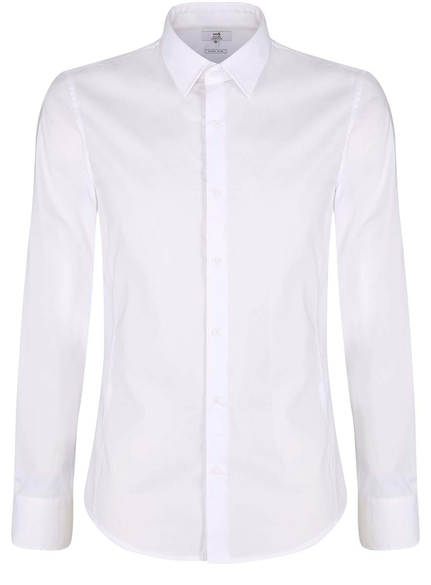 Рубашка мужская oodji Basic, цвет: белый. 3B140000M/34146N/1000N. Размер 38-182 (44-182)3B140000M/34146N/1000NМужская рубашка oodji Basic изготовлена из хлопка с добавлением полиамида и эластана. Классический воротничок с острыми углами, манжеты с пуговицами, застежка на пуговицы спереди по всей длине. У рубашки слега приталенный силуэт, ее можно носить заправленной или навыпуск. Оптимальное соотношение хлопка и синтетики: не мнется, прекрасно держит форму и дает коже возможность дышать. В такой рубашке комфортно в течение всего дня. Элегантная рубашка станет основой для делового гардероба. Она хорошо сочетается с прямыми и зауженными брюками. Для создания строгого образа рубашку можно дополнить классическим или спортивным пиджаком, или же в качестве второго слоя выбрать трикотажный кардиган. С этой рубашкой вы можете создать разные деловые луки. Они всегда будут отвечать строгому дресс-коду. Из обуви предпочтение рекомендуется отдавать классическим моделям туфель.