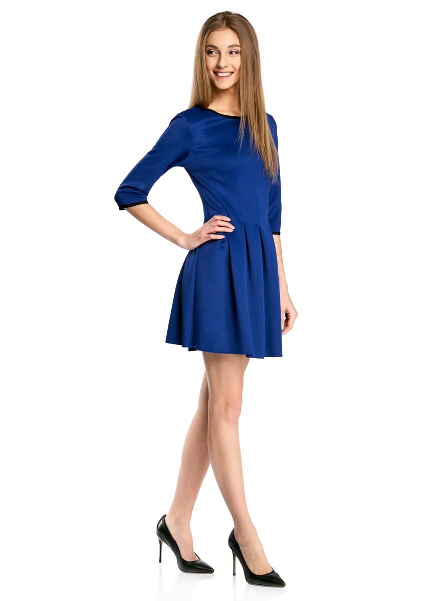 Платье oodji Ultra, цвет: синий. 14001148-1/33735/7500N. Размер XL (50)14001148-1/33735/7500NПлатье oodji Ultra изготовлено из эластичной плотной облегающей ткани. Модель имеет юбку с клиньями, рукава 3/4, круглый вырез воротника и застегивается на крючок сзади.