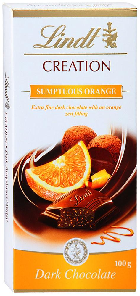 Lindt Creation темный шоколад с начинкой из темного шоколадного мусса и апельсина, 100 г lindt шоколад темный lindt excellence с лаймом 100г