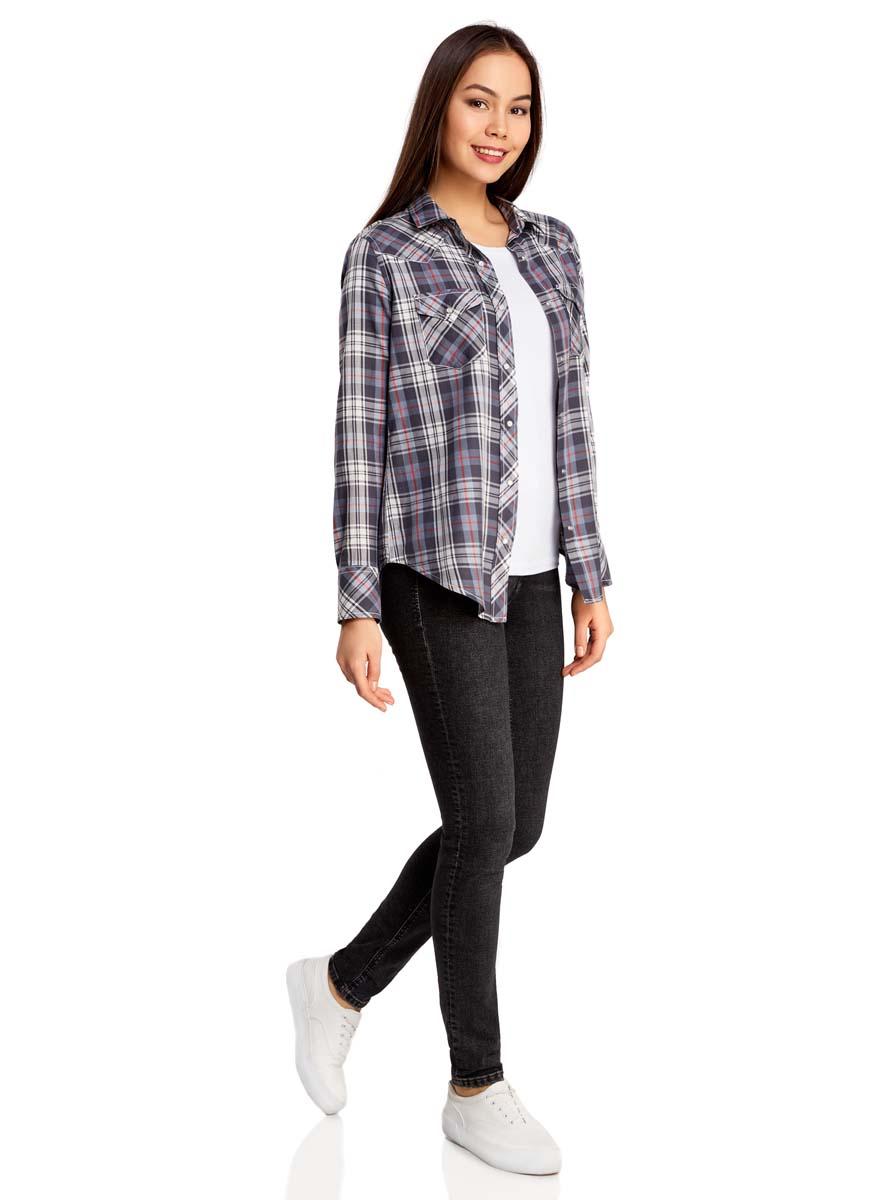 Рубашка женская oodji Collection, цвет: серо-синий, белый. 21400389/43747/7545C. Размер 44-170 (50-170)