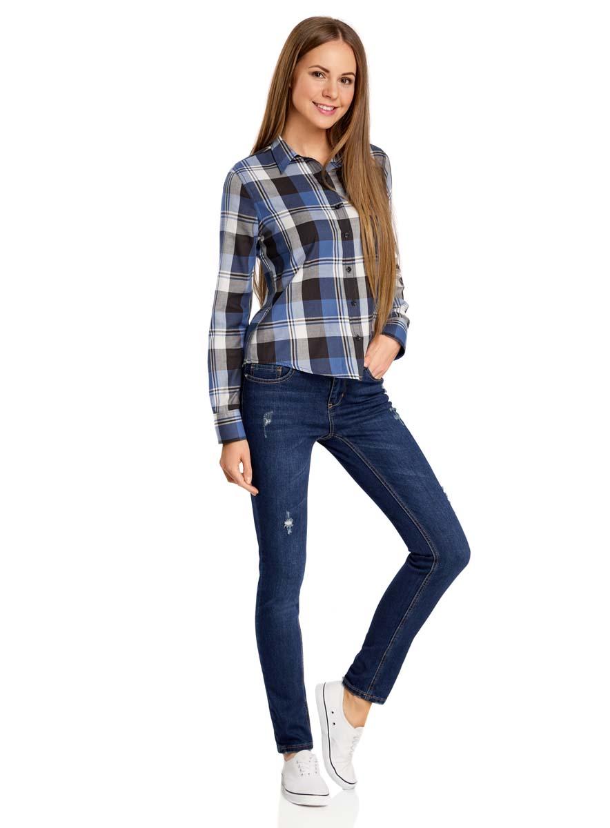 Рубашка женская oodji Collection, цвет: синий, черный. 21411082/43746/2575C. Размер 44-170 (50-170)