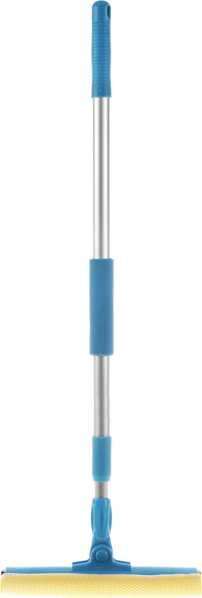 Щетка для окон Мультидом, с телескопической ручкой, цвет: голубой, серебристый, длина ручки 75-128 см