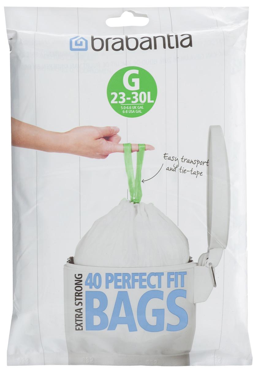 Мешки для мусора Brabantia, 23/30 л, 40 шт. 375668375668Удобно и быстро вкладываются и достаются из бака.Эстетичный вид – идеально подходят по размеру к мусорным бакам Brabantia, мешок не выступает наружу.Уникальная цветовая маркировка позволяет выбрать мешки нужного размера.Вентиляционные отверстия для удобства вкладывания в бак.Изготовлены из особо прочного полиэтилена (HDPE).Легко затягиваются и переносятся – специальная лента для стягивания горловины.Упаковка: 40 мешков в рулоне.