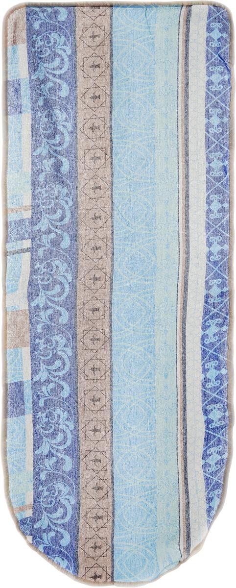 Чехол для гладильной доски Detalle, цвет: коричневый, голубой, 125 х 47 смЕ1301Чехол для гладильной доски Detalle, выполненный из хлопка с подкладкой из мягкого войлочного материала, предназначен для защиты или замены изношенного покрытия гладильной доски. Чехол снабжен стягивающим шнуром, при помощи которого вы легко отрегулируете оптимальное натяжение чехла и зафиксируете его на рабочей поверхности гладильной доски.Этот качественный чехол обеспечит вам легкое глажение.Размер чехла: 125 см x 47 см.Максимальный размер доски: 120 см х 42 см.Размер войлочного полотна: 130 см х 52 см.
