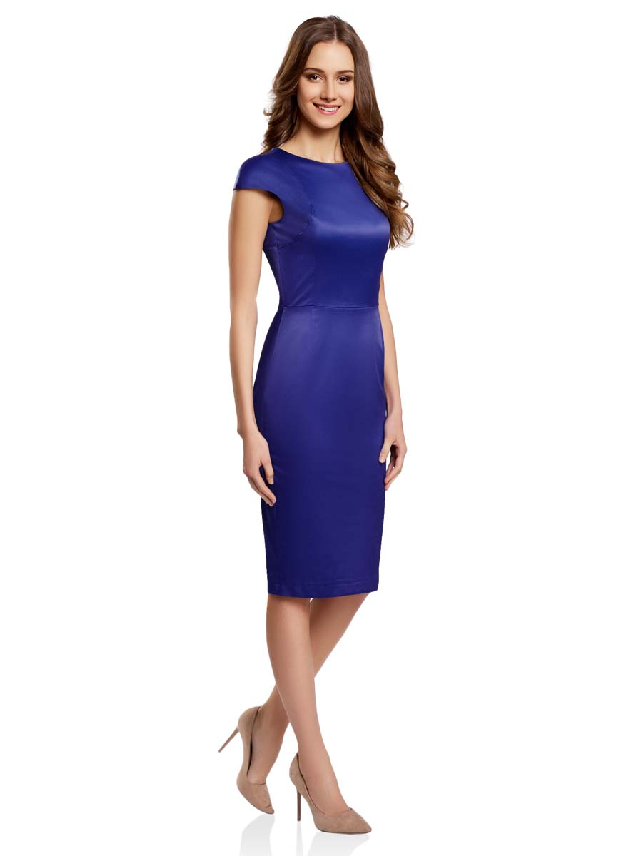 Платье oodji Ultra, цвет: синий. 11902163-1/32700/7500N. Размер 38-170 (44-170)11902163-1/32700/7500NСтильное платье-футляр oodji Ultra выполнено из качественного комбинированного материала. Модель длины миди с коротким рукавом-крылышко и круглым вырезом горловины застегивается сзади по всей длине на металлическую молнию. Оформлено платье в лаконичном дизайне.