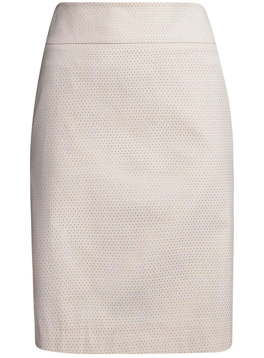 Юбка oodji Collection, цвет: кремовый, бежевый. 21601236-13/46373/3050D. Размер 38-170 (44-170)21601236-13/46373/3050DСтильная юбка oodji Collection выполнена из качественного комбинированного материала на подкладке из полиэстера. Модель-миди застегивается сзади на потайную молнию. Оформлена юбка мелким принтом в горох. Сзади изделие имеет небольшую шлицу.