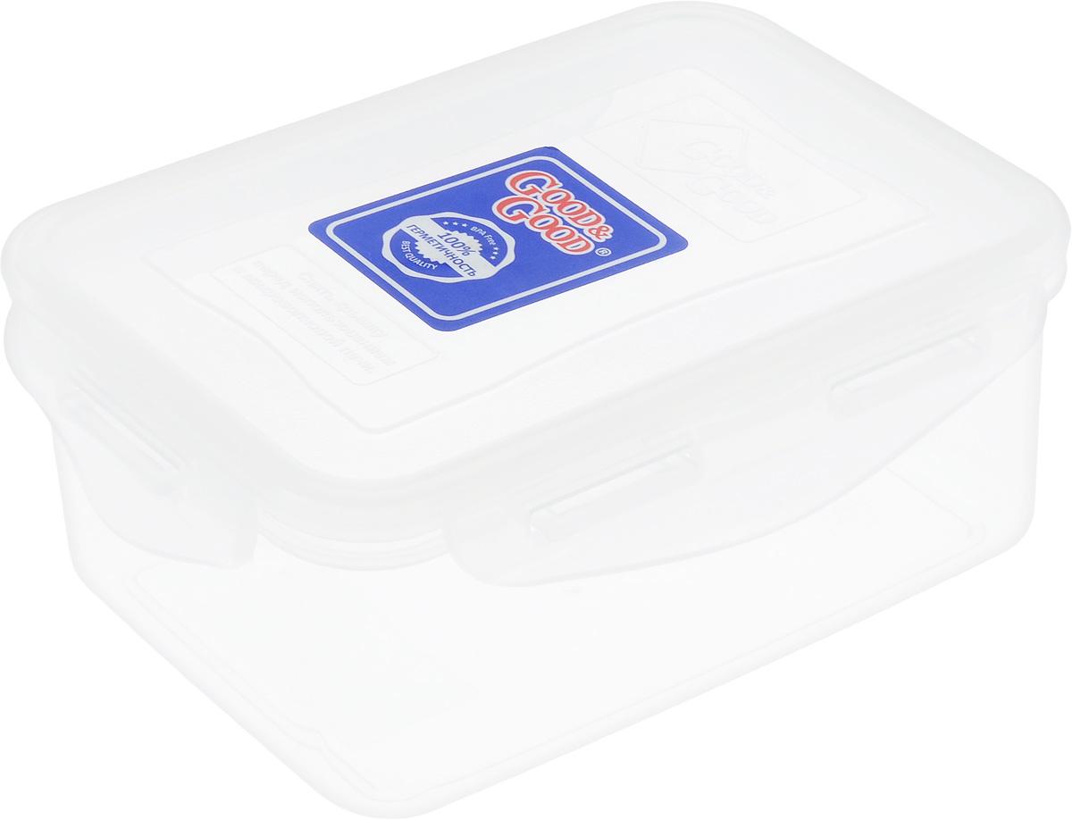 Контейнер пищевой Good&Good, цвет: прозрачный, 800 мл370021402-2/2-2НПрямоугольный контейнер Good&Good изготовлен извысококачественного полипропилена и предназначендляхранения любых пищевых продуктов. Благодаря особымтехнологиям изготовления, лотки в течении временислужбы не меняют цвет и не пропитываютсязапахами. Крышка с силиконовой вставкой герметичнозащелкивается специальным механизмом.Контейнер Good&Good удобен для ежедневногоиспользования в быту. Можно мыть в посудомоечной машине и использовать вмикроволновой печи. Размер контейнера (с учетом крышки): 16,5 х 11 х 7,5 см.