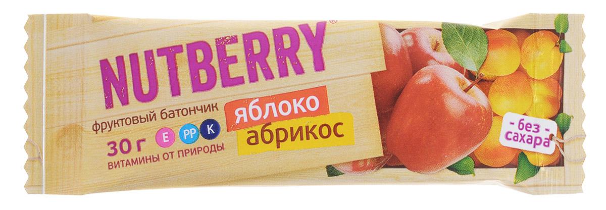 Nutberry Витафрут батончик фруктовый с яблоком и абрикосом, 30 г4620000678014Фруктовый батончик Nutberry Витафрут с яблоком и абрикосом - полезный и натуральный снэк. Медово-сладкий вкус мякоти абрикоса с кислинкой яблока относится к тем вкусам, которые очаровывают любого гурмана.Фруктовые батончики Nutberry - натурально, вкусно, с заботой о вас. Фруктовый батончик с яблоком и абрикосом справится с голодом в два счета. Любой перекус станет вкусным и полезным. С утренним кофе, с обеденным чаем, со свежевыжатым соком фруктовый батончик станет незаменимым составляющим вашего рациона.Фруктовые батончики Nutberry изготавливаются только из натуральных прессованных фруктов. Батончики содержат естественные фруктовые сахара! При производстве в продукт не добавляются фруктоза, сахар и другие сахаросодержащие продукты.Фруктовые батончики Nutberry абсолютно безопасны, не содержат ароматизаторов, красителей.Уважаемые клиенты! Обращаем ваше внимание, что полный перечень состава продукта представлен на дополнительном изображении.