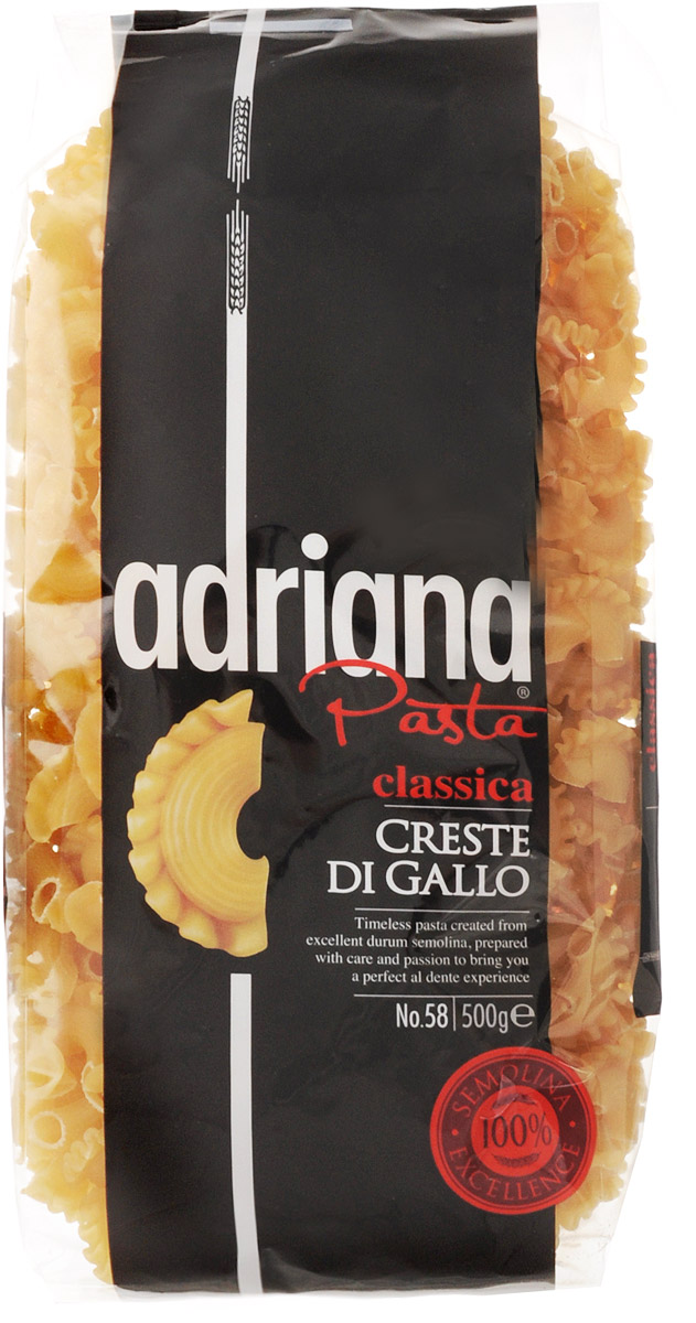 Adriana Creste di Gallo паста, 500 г15028Adriana - высококачественная паста из 100% семолины. Только 100% семолина или качественная мука из специальных твердых сортов пшеницы гарантирует, что паста, даже после превышения рекомендуемого времени приготовления, не развариться и не слипнется после охлаждения.Еда не должна служить лишь для утоления голода, а должна приносить и возвышенные чувства приятного удовлетворения. Ужин должен быть не только завершением дня, но также возможностью встретиться с близкими друзьями, чтобы насладиться едой. Паста Adriana имеет превосходные вкусовые качества и полезные свойства. Благодаря большому количеству клетчатки, белка и минимуму жиров - паста низкокалорийная, что способствует всегда оставаться в идеальной форме, а также в ее состав входит рибофлавин, который способствует снижению усталости. Паста богата витаминами группы В, необходимыми для здоровья.Лайфхаки по варке круп и пасты. Статья OZON Гид