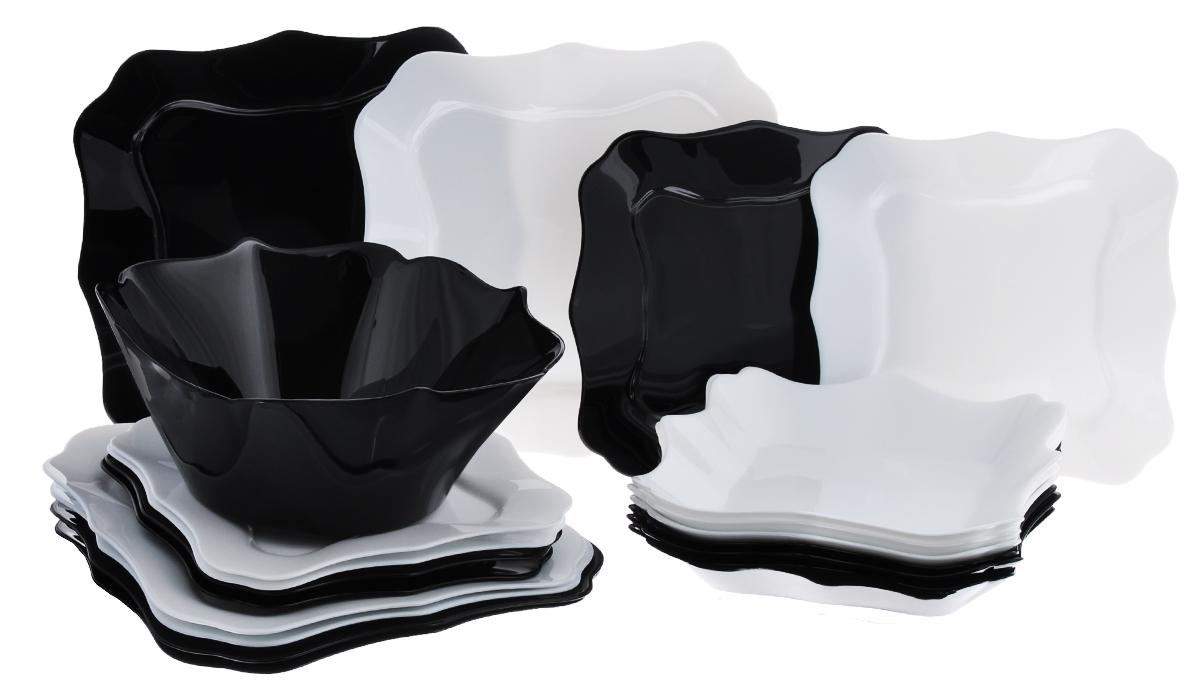 Набор столовой посуды Luminarc Authentic, 19 предметовD2381Набор Luminarc Authentic состоит из 6 суповых тарелок, 6 обеденных тарелок, 6 десертных тарелок и глубокого салатника. Изделия выполнены из ударопрочного стекла, имеют классический монохромныйдизайн и красивую квадратную форму с резными краями. Посуда отличается прочностью, гигиеничностью и долгим сроком службы, она устойчива к появлению царапин и резким перепадам температур.Такой набор прекрасно подойдет как для повседневного использования, так и для праздников или особенных случаев.Столовый набор Luminarc Authentic - это не только яркий и полезный подарок для родных и близких, это также великолепное дизайнерское решение для вашей кухни или столовой.Изделия можно мыть в посудомоечной машине и использовать в СВЧ-печи.Размер суповой тарелки: 22 х 22 см.Размер обеденной тарелки: 26 х 26 см.Размер десертной тарелки: 20,5 х 20,5 см.Диаметр салатника: 24 см. Высота стенки салатника: 8,5 см.