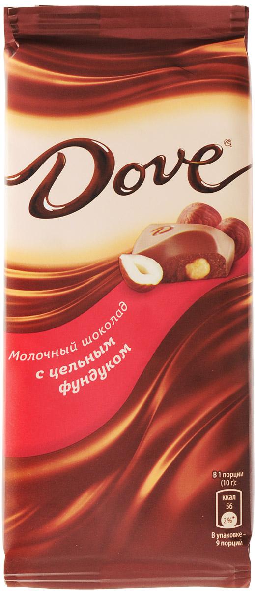 Dove молочный шоколад с цельным фундуком, 90 г с пудовъ кисель молочный ванильный 40 г