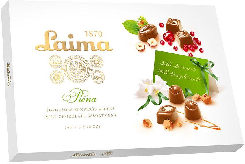 Laima Ассорти конфет в молочном шоколаде, 360 г4750001008104Ассорти конфет в молочном шоколаде 4 разных форм с 3 начинками - молочный крем, крем-какао, крем-ирис-тоффи.