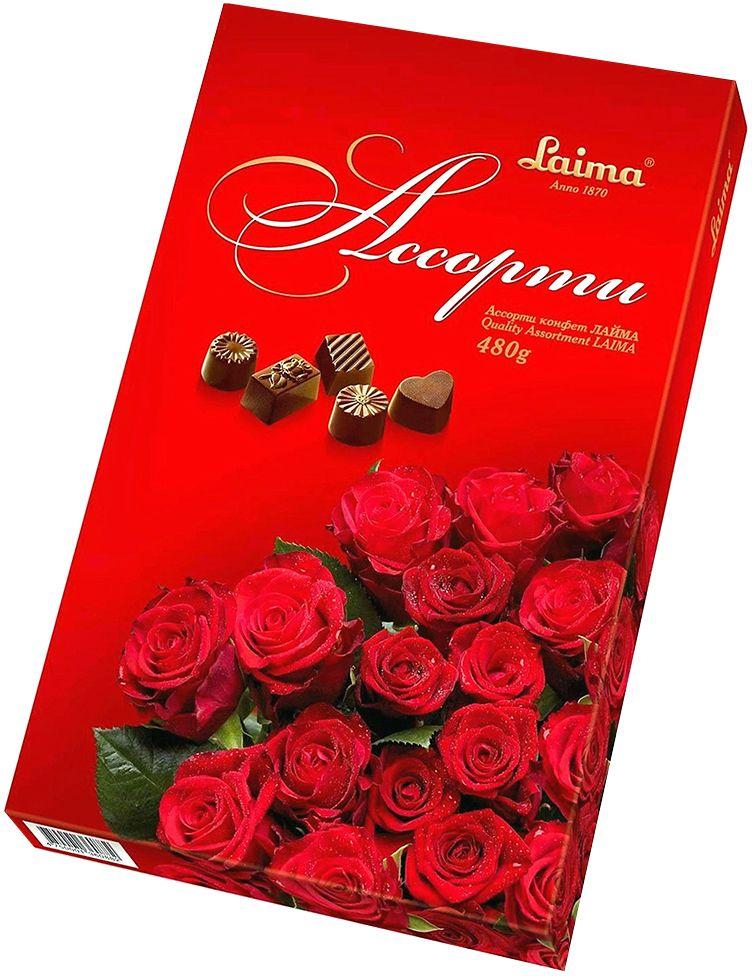 Laima Красные розы Ассорти шоколадных конфет, 480 г пудовъ апельсиново шоколадный хлеб 500 г