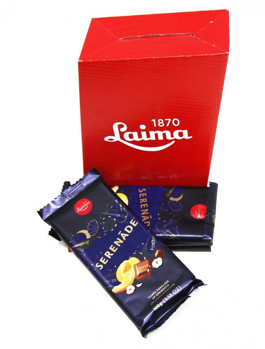Laima Серенада с абрикосом и фундуком темный шоколад, 100 г4750001943498Темный шоколад с кусочками абрикоса и фундука.