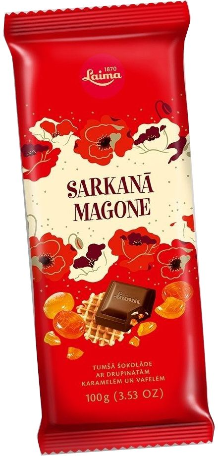Laima Красный мак с карамелью и вафлями темный шоколад, 100 г4750001944211Темный шоколад с криспами карамели.